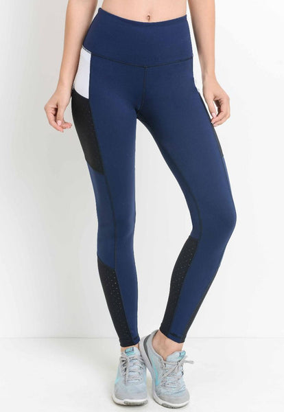 Womens - 'ENERGY' High Waist Panel Leggings - Blue - Bottoms - TWOTHREE