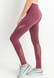 Womens - 'BURN' High Waist Panel Leggings - Burgundy - Bottoms - TWOTHREE