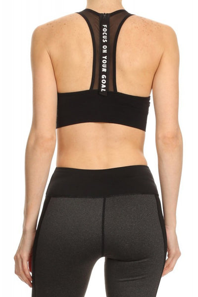 Womens - 'FOCUS' Mesh Bra - Black - Tops - TWOTHREE