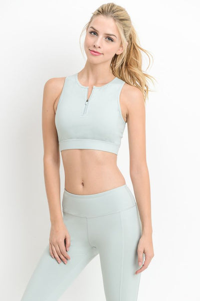 Womens - 'POWER' Zip Crop Top - Mint - Tops - TWOTHREE