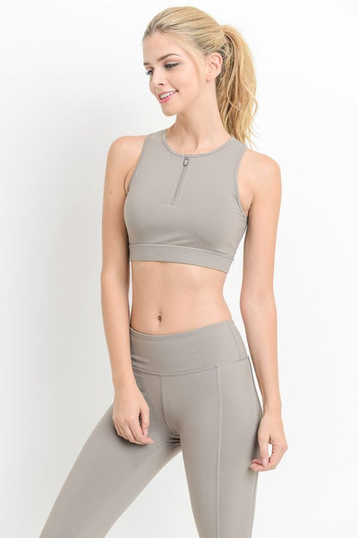Womens - 'POWER' Zip Crop Top - Mocha - Tops - TWOTHREE