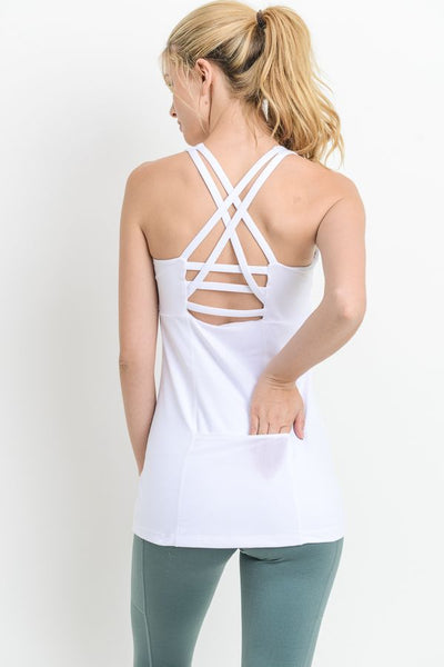 Womens - 'SCULPT' Sports Tank Top - White - Tops - TWOTHREE