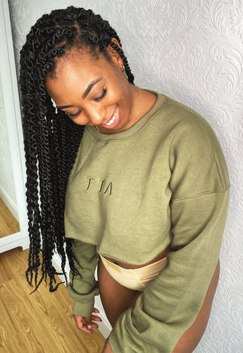 COZY Cropped Sweater - Green