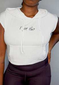 Womens - SLOGAN Cropped Hoodie Top - Tops - TWOTHREE