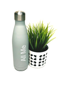 Womens - Grey Metal Drinking Bottle - All Me - accessories - TWOTHREE