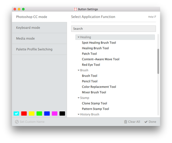 Palette Button Settings for Photoshop Creative Cloud