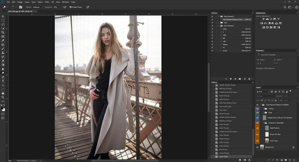 Dani Diamond edits a portrait photograph in Adobe Photoshop using Wacom tablet and Palette Gear's tactile precision controls