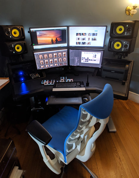 New York based photographer, Dani Diamond's, workstation setup with chair, 4 monitors, Wacom tablet, and Palette Gear's tactile, precision controls