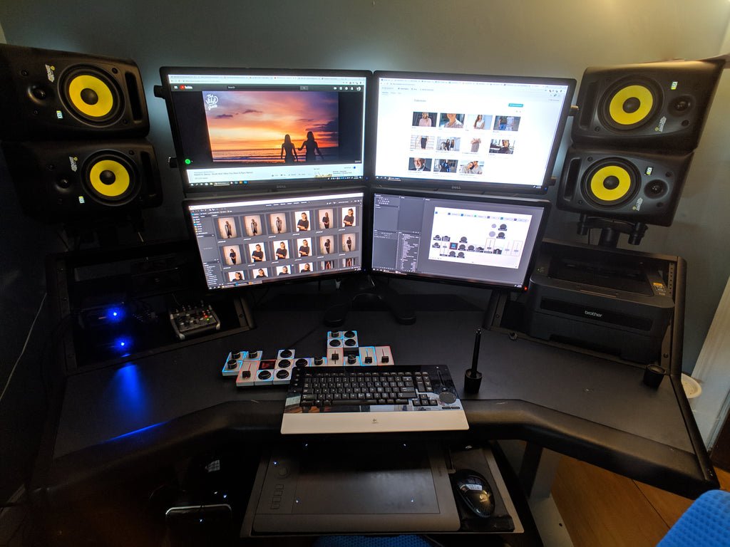 Dani Diamond, a New York City based photographer, shows his workstation featuring 4 monitors, a Wacom tablet, and Palette Gear's tactile, precision controls
