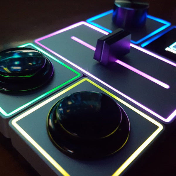closeup of Palette modules with LED halos in multiple colours