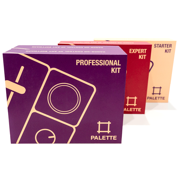 3 Palette packaging boxes in purple red and tan