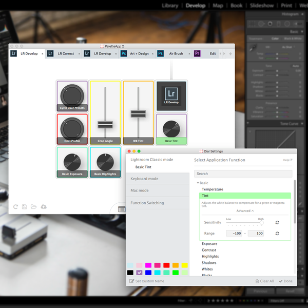 Palette App Screenshot in Lightroom with sensitivity adjustment.