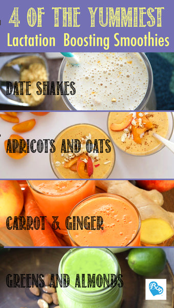 Recipe for Four of the yummiest Lactation Boosting Smoothies for Moms on the Go.