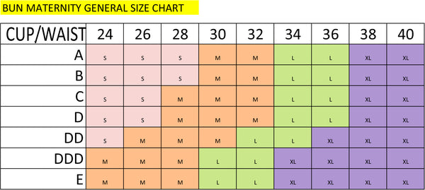 nursing tank top and shirts size chart for Bun Maternity apparel
