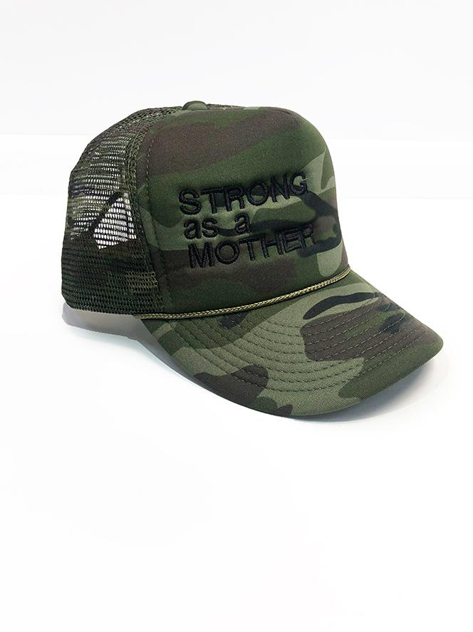 Strong As A Mother Trucker Hat Hat Bun Maternity Nursing Apparel