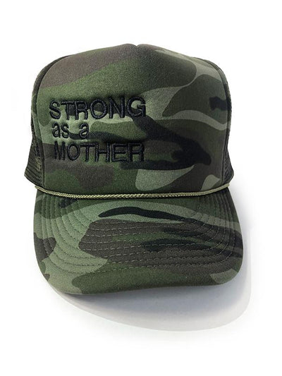 Strong As A Mother Trucker Hat Hat Bun Maternity Nursing Apparel One Size camo