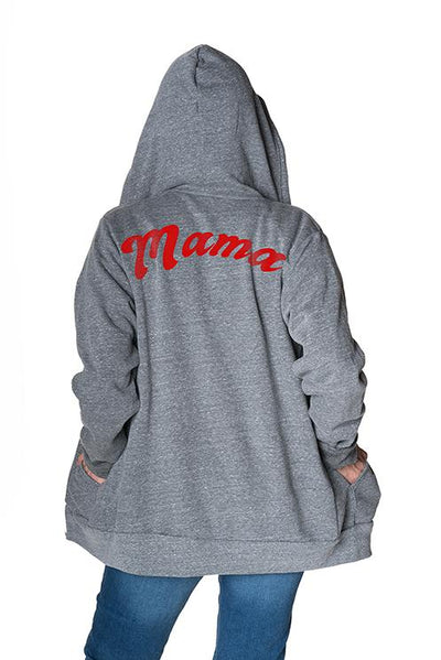 'Mama' Cozy ECOblend Zip Up Hoodie Hoodie Bun Maternity Nursing Apparel small 2/4 heather gray