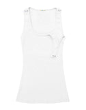 White Nursing Tank Top, Bun Signature Nursing Tank Top, Bun Maternity- Bun Maternity