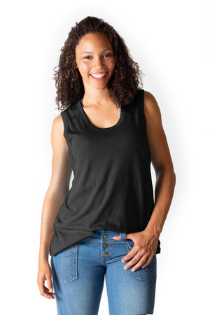 Flowy All Day Nursing Tank - 4 Colors Bun Signature Nursing Tank Top Bun Maternity Nursing Apparel small 2/4 black