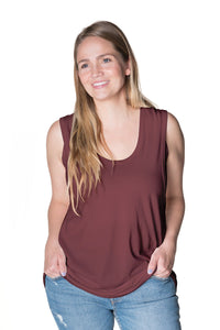 Flowy All Day Nursing Tank - 4 Colors Bun Signature Nursing Tank Top Bun Maternity Nursing Apparel small 2/4 marsala