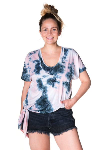 Cloud Nine Tie Nursing Top Bun Short Sleeve Tee Shirt Bun Maternity Nursing Apparel medium 6/8 pink dust