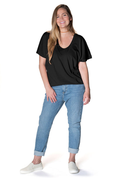 Feelin' Free Circle Tee Tee Shirt Bun Maternity Nursing Apparel medium 6/8 black