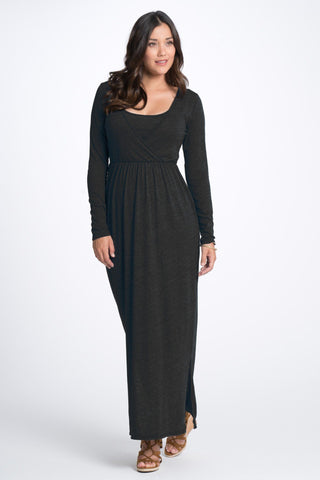 Bun Maternity Long Sleeve Cross Top Maxi Nursing Dress - Heather Black
