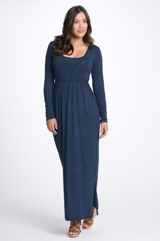 Bun Maternity Long Sleeve Cross Top Nursing Maxi Dress - Navy