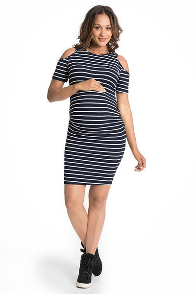 Breezy Shoulder Maternity and Beyond Midi Dress Dress Bun Maternity Nursing Apparel small 2/4 navy and white stripe