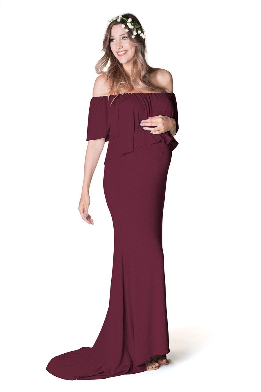 Simply Gorgeous Maternity Photoshoot Dress Dress Bun Maternity Nursing Apparel S/M wine