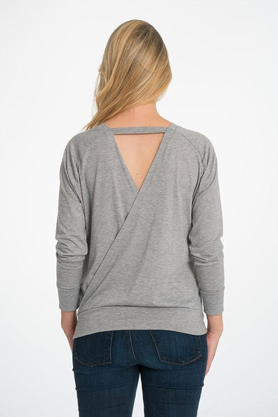 Crossback Longsleeve Nursing Top - 2 Colors Longsleeve Top Bun Maternity Nursing Apparel small 2/4 gray