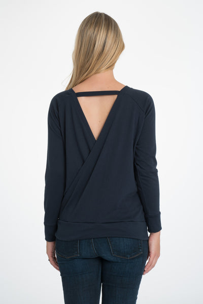 Crossback Longsleeve Nursing Top - 2 Colors Longsleeve Top Bun Maternity Nursing Apparel small 2/4 navy