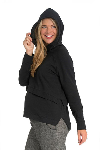 Asymmetrical Pop Up Nursing Hoodie, Hoodie, Bun Maternity- Bun Maternity