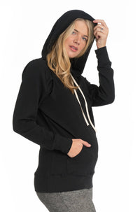 Cozy Maternity Nursing Hoodie - 4 Colors Hoodie Bun Maternity Nursing Apparel black large 10/12