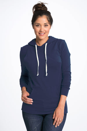 Cozy Maternity Nursing Hoodie - 4 Colors Hoodie Bun Maternity Nursing Apparel navy small 2/4
