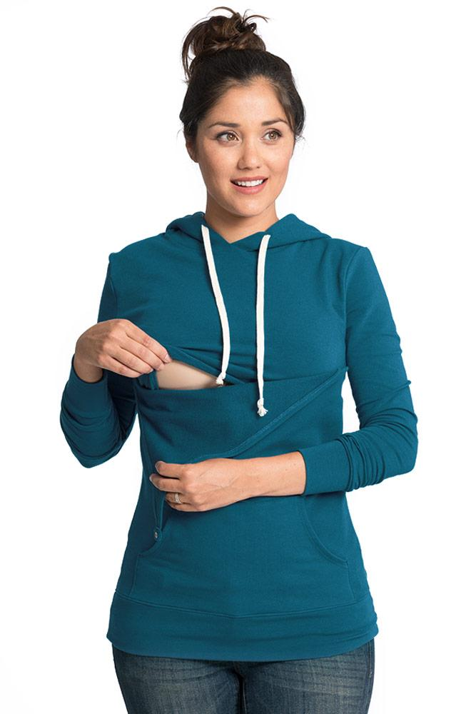 Cozy Maternity Nursing Hoodie - 4 Colors Hoodie Bun Maternity Nursing Apparel teal small 2/4