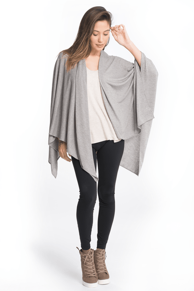 Three Ways Wrap - 2 Colors Wrap Bun Maternity Nursing Apparel one size heather gray