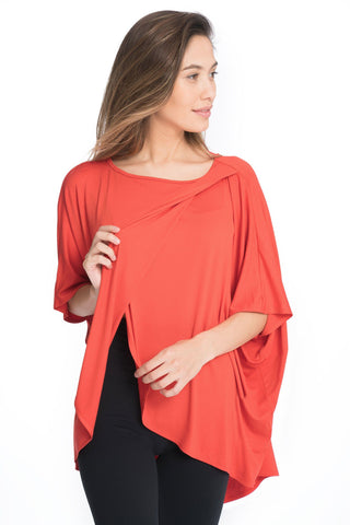 Bun Maternity Draped Drop Back Nursing Poncho