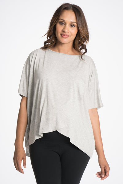 Draped Drop Back Nursing Poncho - 4 Colors, Bun Short Sleeve Tee Shirt, Bun Maternity- Bun Maternity