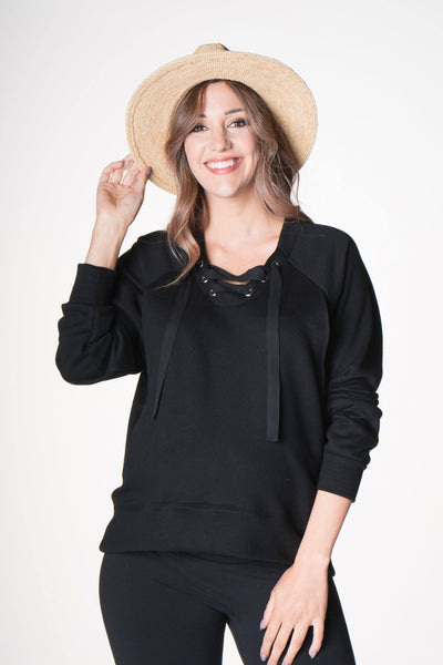 Front Lace Up Nursing Pullover, Sweater, Bun Maternity Nursing Apparel- Bun Maternity