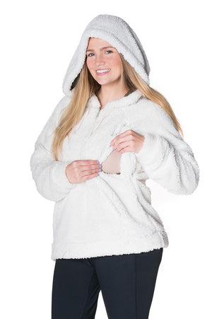 Cuddle Me Sherpa Nursing Hoodie Hoodie Bun Maternity Nursing Apparel medium 6/8 ivory