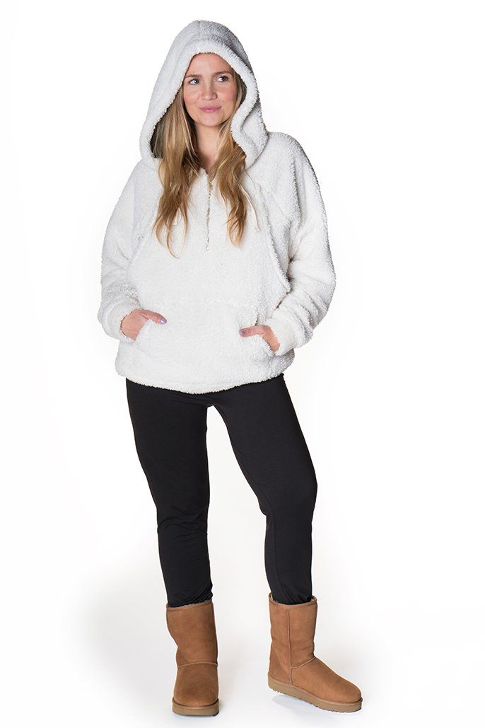 Cuddle Me Sherpa Nursing Hoodie Hoodie Bun Maternity Nursing Apparel small 2/4 ivory