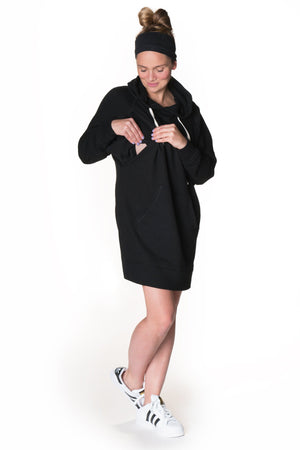 Relaxed Hoodie Nursing Dress, Dress, Bun Maternity Nursing Apparel- Bun Maternity