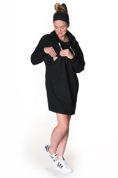Relaxed Hoodie Nursing Dress Dress Bun Maternity Nursing Apparel medium 6/8 black