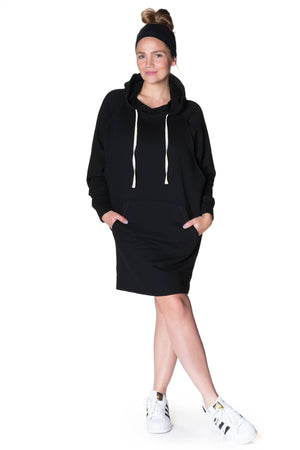 Relaxed Hoodie Nursing Dress Dress Bun Maternity Nursing Apparel large 10/12 black