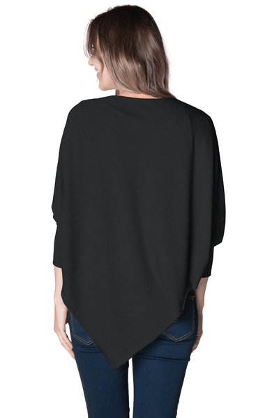 Asymmetrical Maternity Nursing Poncho Poncho Bun Maternity Nursing Apparel L/XL 8-14 black