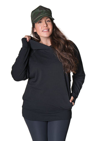 Active Light Maternity Nursing Pullover Hoodie Hoodie Bun Maternity Nursing Apparel medium 6/8 black
