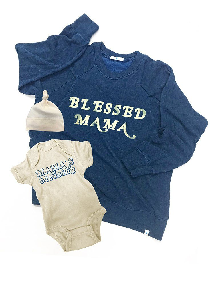 BLESSED MAMA Mommy and Me Set Mommy and Me Bun Maternity Nursing Apparel small 2/4 0-3 deep sea