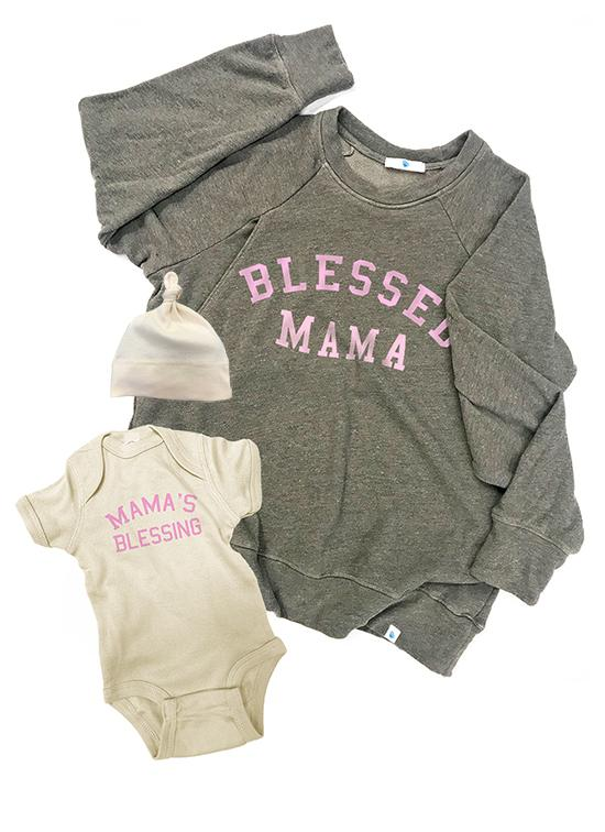 BLESSED MAMA Mommy & Me Set Mommy and Me Bun Maternity Nursing Apparel small 2/4 0-3 heather gray