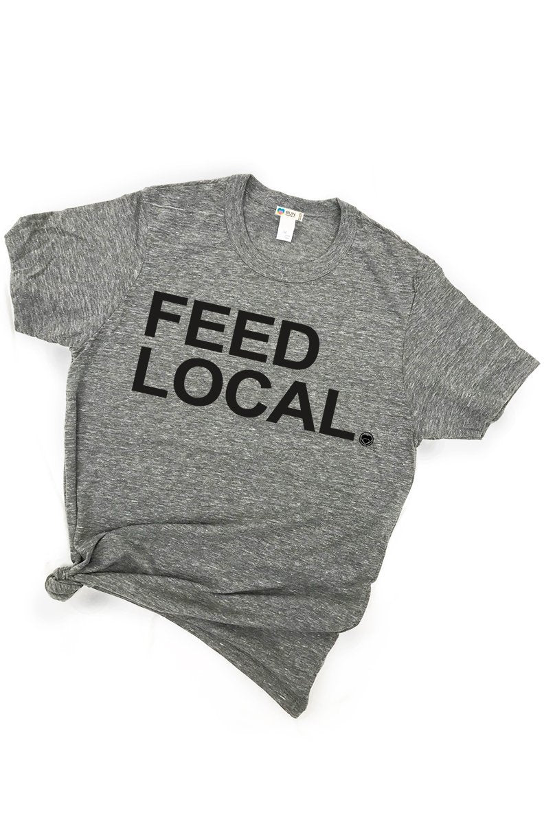 Feed Local Triblend Graphic Boyfriend Tee Tee Shirt Bun Maternity Nursing Apparel small 2/4 heather gray